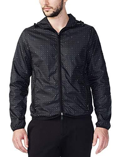 Armani Exchange Mini Logo Print Packable Jacket (Black, XX-Large)