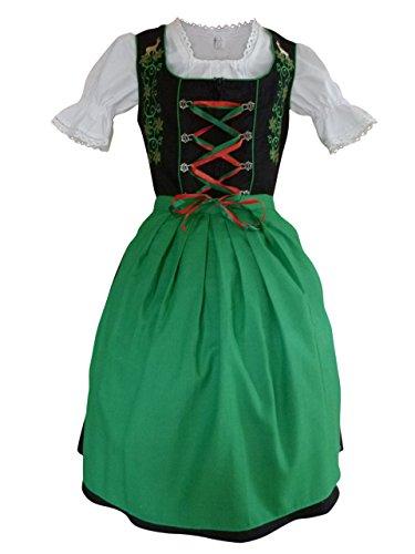 Damen-Dirndl Di24 Mini Gr.44, 3 TLG. Trachten-Kleid grün-schwarz mit Dirndel-Bluse u. -Schürze für Oktober-Fest