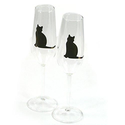 Superbe flûte à champagne en forme de chat porte-bonheur pour mariage, anniversaire
