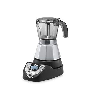 De'Longhi EMKP42.B – Cafetera moka eléctrica, 450 W, 1 L, plástico, negro/plata