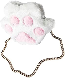TOOGOO Autumn Winter Sweet Girl Casual Plush Cute Metal Chain Crossbody Bags Women Lady Fluffy Shoulder Bag Popular,White