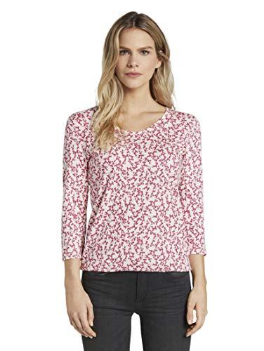 TOM TAILOR Damen T-Shirts/Tops Blusenshirt mit Print pink Flowery Design,M,21297,5455