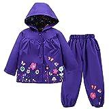 TURMIN Kinder Regenjacke Jungen Mädchen Regenanzug Regenbekleidung wasserdichte Kinderjacke Baby Kleinkind Winddichte Jacke Regen Poncho für 0-5 Jahre Alt-Dunkelviolett