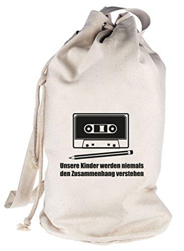 Shirtstreet24, Bleistift - Kassette, bedruckter Seesack Umhängetasche Schultertasche Beutel Bag, Größe: onesize,natur