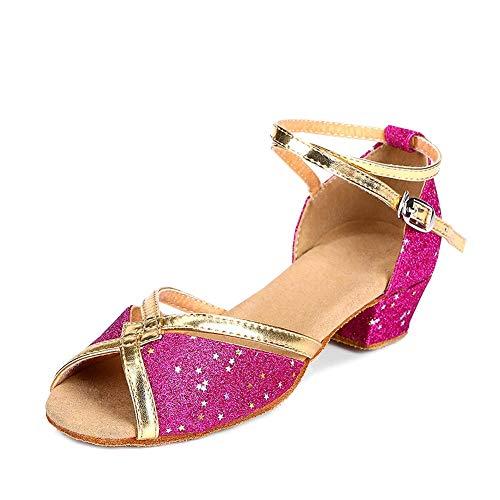 YFCH Mädchen/Damen Standard & Latein Schuhe Tanzschuhe Peep-Toe Tanz Schuhe Sandalen Pumps mit 3CM Absatz, Pink Glänzend, 30.5/31 EU(Label: 30)
