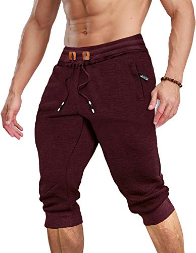 MAGCOMSEN Workout Shorts for Men with Pockets Running Shorts Gym Shorts Sweatpants for Mens Capri Shorts Jogger Pants Workout Pants Joggers Pants Capri Joggers Gym Pants Men