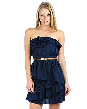 Zoozie LA Women s Strapless Mini Dress Ruffle Belt Navy Blue S