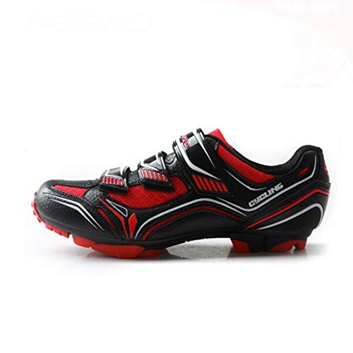 GET Men Mountain Bike Cycling Shoes with Cleats, SPD Pedals Breathable Self-locking Riding Shoes (Color : Red, Shoe Size : UK-12/EU47/US-13)