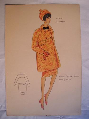FIGURIN ORIGINAL ACUARELADO - Original watercolor design costume - Diseño J.GRIFFE :...