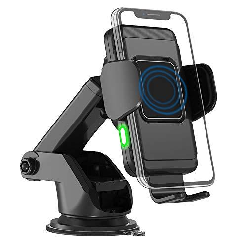 QINGHUI draadloze auto oplader, 10W automatische klemmen snel opladen mobiele telefoon opladen stand vaste voorruit dashboard geschikt voor alle mobiele telefoon modellen