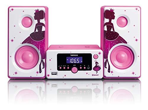 Lenco Stereoanlage MC-020 Kompaktanlage  mit Bluetooth, USB und UKW-Radio (Weckfunktion, USB-Lader, Aux, Kopfhörerbuchse) 2 x 5 Watt (RMS), Princess