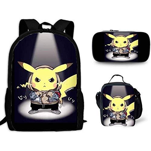 HOOBBI 3-Piece Set of Pikachu Backpack with Computer Pocket Detective Pikachu Cartoon Kids Backpack Cartoon Lightweight Durable School Bag with Lunch Bag Pencil Bag