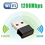 Maxesla Mini USB WiFi Adaptateur 1200Mbps Clé WiFi Dongle AC Dual Band, WiFi...