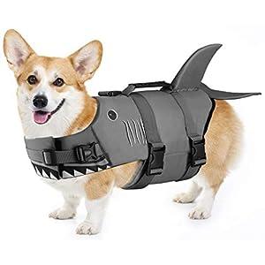 Petacc Dog Life Jacket Pet Floatation Vest Dog Lifesaver Dog Life Preserver for Water Safety at The Pool, Beach, Boating (M, Shark)