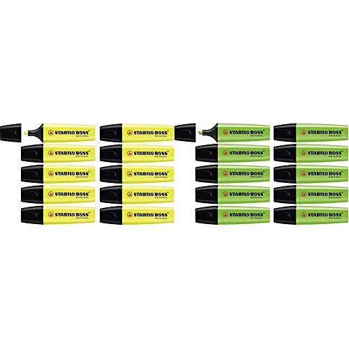 Marcador fluorescente STABILO BOSS Original - Caja con 10 unidades - Color amarillo + fluorescente - Caja con 10 unidades - Color verde