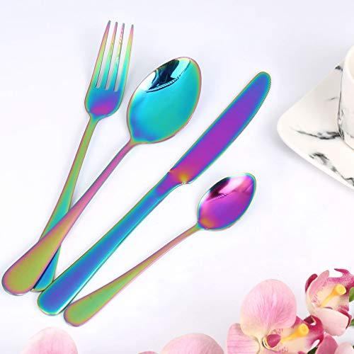 Wanxida 4-teilig Besteck Set Bunt Romantisch Abendessen Set Hochzeit Reise Rainbow Flatware Set Rostfreier Cutlery Abendessen Messer Gabel Suppe Löffel