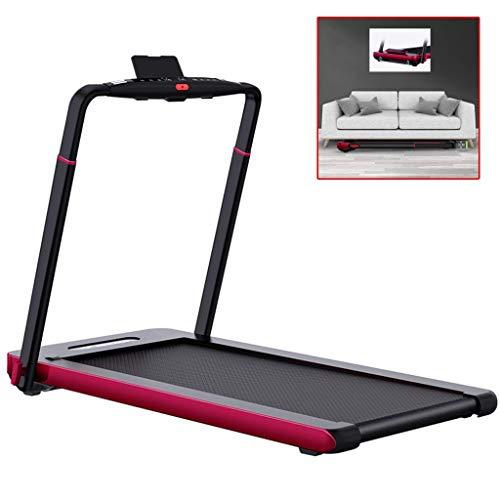 Cintas de correr plegable Ejercicio Máquinas for plegar la pérdida de peso a largo sencilla de aleación de aluminio en silencio andador interior de fundición integrada, teniendo 100 kg (Color: Negro,