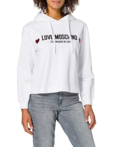 Love Moschino Soft Stretch Cotton Regular-Fit Long-Sleeved Hooded Sweatshirt Maglia di Tuta, Optical White, 44 Donna