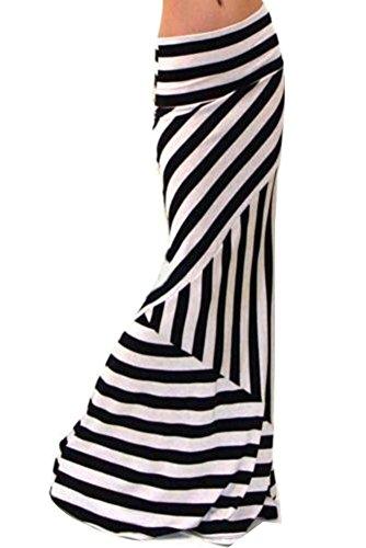 Damen Asymmetrische Hohe Taille Gestreift Langer Röcke Maxi Rock Sommerrock Strandrock Maxirock Langrock S