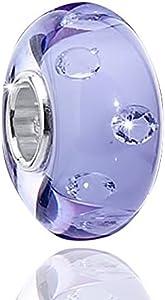 Materia joyería objetos de cristal de murano beads circonita azul lila -{925} plata murano cuentas de cristal para Beads Pulsera #1525