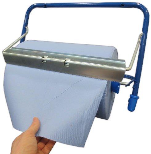 Wandhalter für Putzrollen bis 40 cm blau/silber Metall Wandrollenhalter Wandabrollgerät Putztuchrollenspender