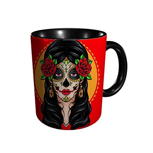 Sugar Skull La Catrina Logo 11 Gu Division - Taza, diseño de calavera