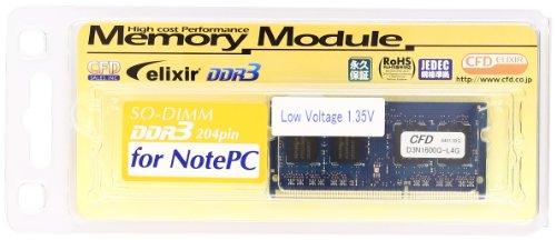 シー・エフ・デー販売 Elixir ノートパソコン用メモリ DDR3-SODIMM PC3-12800 CL11 4GB 1枚組 LowVoltage(1.35v) D3N1600Q-L4G