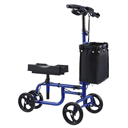 Folding Wheeled Knee Scooter | Steerable Knee Walker w Adjustable Kneeling Pad Handlebar & Storage Bag for Foot Leg Injuries | Rollator Walker Crutch Alternative for Kids & Adults, 350lb Capacity