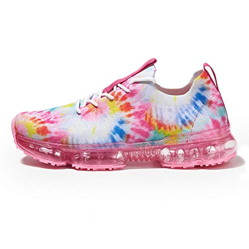 LUCKY STEP Women Air Cushion Breathable Sneakers - Mesh Lightweight Sock Walking Shoes (Tie Dye-Pink,7 B(M) US)
