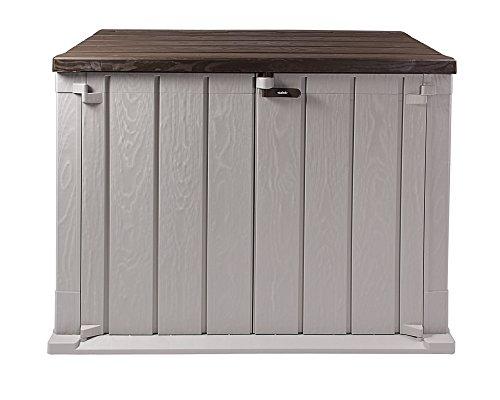 Ondis24 Mülltonnenbox Storer Basic Gerätebox abschließbar für 2 Mülltonnen (842 Liter, Grau-Braun)