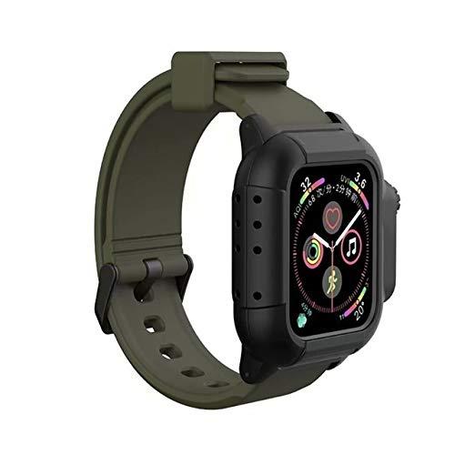 ETbotu Watch Straps, Custodia imformeabile for Apple Watch Band 4 Cinturini iWatch Cinturino in Silicone Bracciale Accessori Smart Watch ArmyGreen 44MM