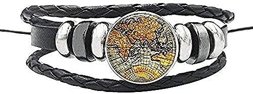 BEISUOSIBYW Co.,Ltd Collar Vintage Mapa del Mundo Globo Pulsera de Cuerda de Cuero Perillas de cúpula de Vidrio Pulsera de África para Mujeres Hombres Joyería de Regalo