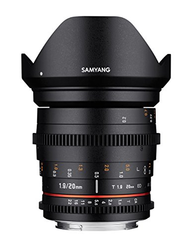 Samyang SA1411 - Objetivo para video VDSLR II para CANON EOS (20 mm, T1.9 ED, AS UMC), negro