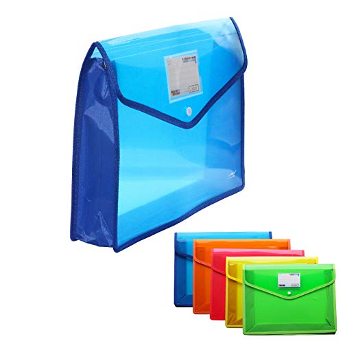 B4 Plastic File Folders - 5 Pack Waterproof Transparent Expandable Business Organizer Wallet Poly Envelopes Expanding Document with Label Pocket Accordion File Pouch for Office School Home