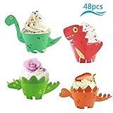 ZoomSky 48 Set Dinosaurier Mini Cupcake Toppers Wrapper Papier Dino Muffin Backen Verpackung Beidseitig Handmade für Kinder Jungen Party Kuchen Dekorationen Geburtstag Deko