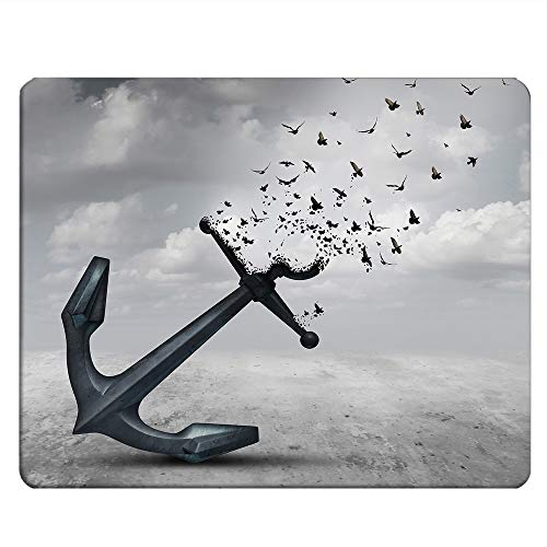 NICOKEE Seagulls Rectangle Gaming Mousepad Anchor Turns into Flying Birds Seagulls for Liberty and Hope Mouse Pad Mouse Mat for Computer Desk Laptop Office 9.5 X 7.9 Inch Non-Slip Rubber