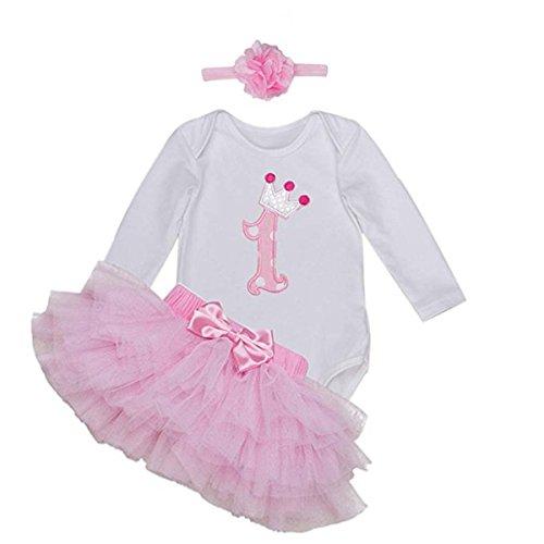 BabyPreg Primera Manga Larga tutú del cumpleaños del Equipo del Vestido de la Venda del bebé (9-12 Meses, Rosa)