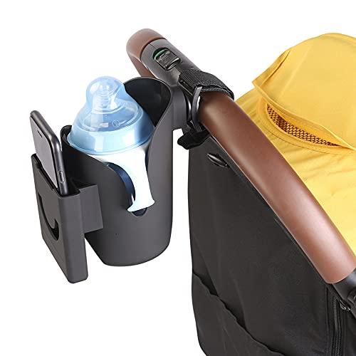 MUFENA Portavasos universal para cochecito de bebé, portavasos de agua con soporte para teléfono móvil, caja de almacenamiento de biberones para cochecitos de bebé, adecuado para cochecitos y carros
