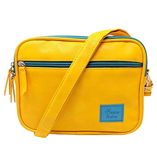 TOKKIE BABE Baby Carrier Extension Storage Pouch - Fit All Essentials for Diapers, Changing Pad, Wipes, Pacifiers, Smart Phones and Wallets Compatible with Lillebaby, Tula and More (Mustard Yellow)