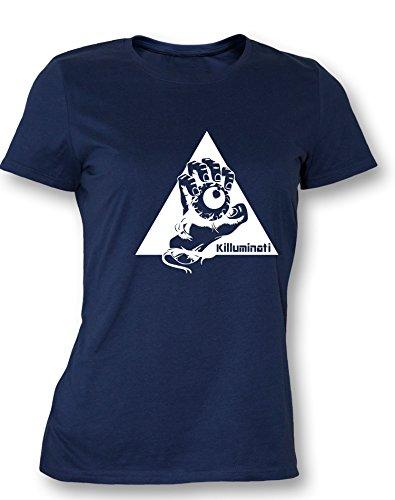 Angry Shirts Illuminati Killuminati Faust - Damen T-Shirt Navy - Weiß in Größe XXL