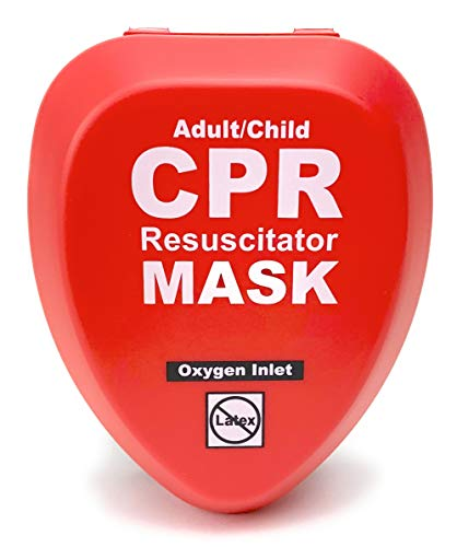 WNL Products Adult/Child Pocket CPR Rescue Resuscitation Mask Kit with One Way Valve and Belt Clip in Hard Red Case (1)