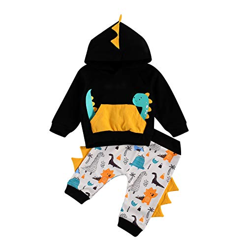Infant Toddler Baby Boy Hoodie Yellow Pullover Long Sleeve Pants Suit Dinosaur Printing Clothes 2Pcs Set (Black, 2-3T)