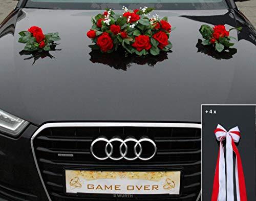 Autoschmuck ECHTER ROSESTRAUSS Braut Paar Rose Deko Dekoration Hochzeit Car Auto Wedding Deko (Rot)