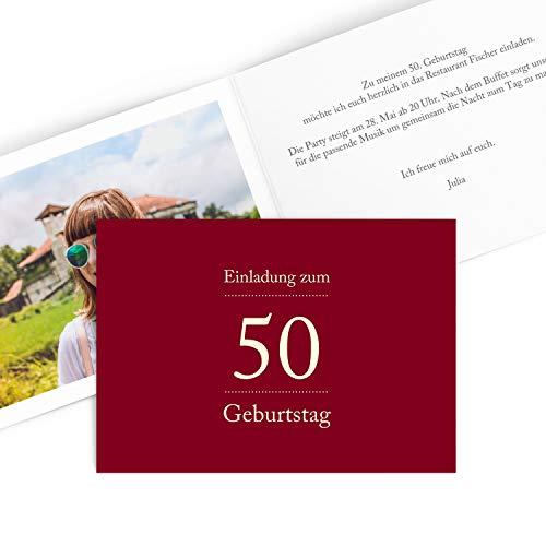 Hoogwaardige uitnodigingskaarten voor verjaardag (1 – 99 jaar) | cijferpoort in rood | verjaardag uitnodiging met druk van uw eigen teksten | verjaardagskaarten 15 Stück rood
