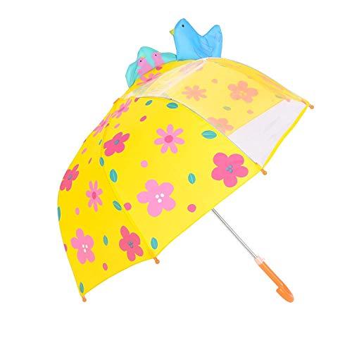 Ombrello per Bambini, Hibbent Ombrello da Pioggia per Bambino e Bambina, con Spicchio di Cupola Trasparente, Uccello,Giallo