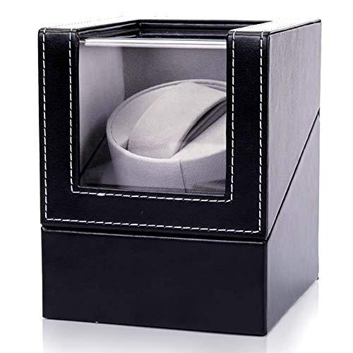 Automatischer Uhrenbeweger, Staubdichte Box, PU-Leder selbstaufziehend, mechanische Uhrenbox mit leiser Motor, Schaukelaufbewahrung für 1 Uhr – Schwarz