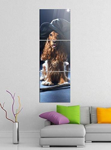 Leinwandbild 3tlg Hund Hexe Hut Hexenbesen Halloween Bilder Druck auf Leinwand Vertikal Bild Kunstdruck mehrteilig Holz 9YA4112, Vertikal Größe:Gesamt 30x90cm