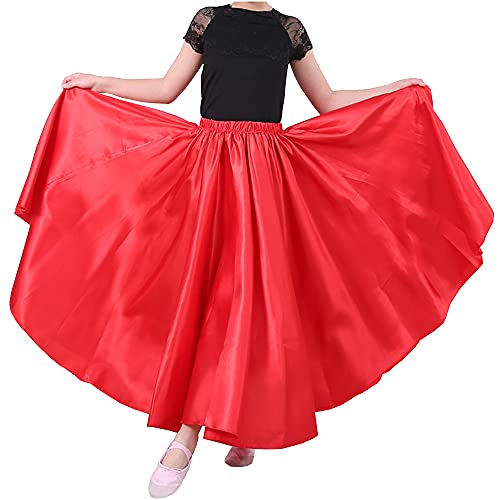 Red 8-12 Years Stretched Flowy Satin Long Skirt for Halloween Costume Dress up Flamenco Dance Performance