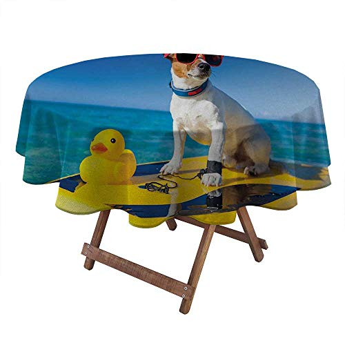round outdoor tablecloth Rubber Duck round coffee table clothes Dog with Sunglasses and Rubber Duck on Surfboard at Ocean Shore Fun Summer kids picnic table camping birthday party supplies Multicolor