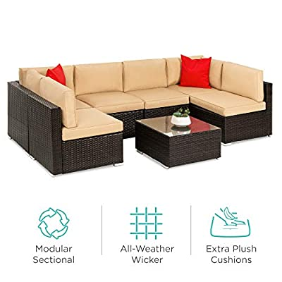 Best Choice Products 7-Piece Modular Outdoor Sectional Wicker Patio Furniture Conversation Set w/ 6 Chairs, 2 Pillows, Seat Clips, Coffee Table, Cover Included - Brown/Tan